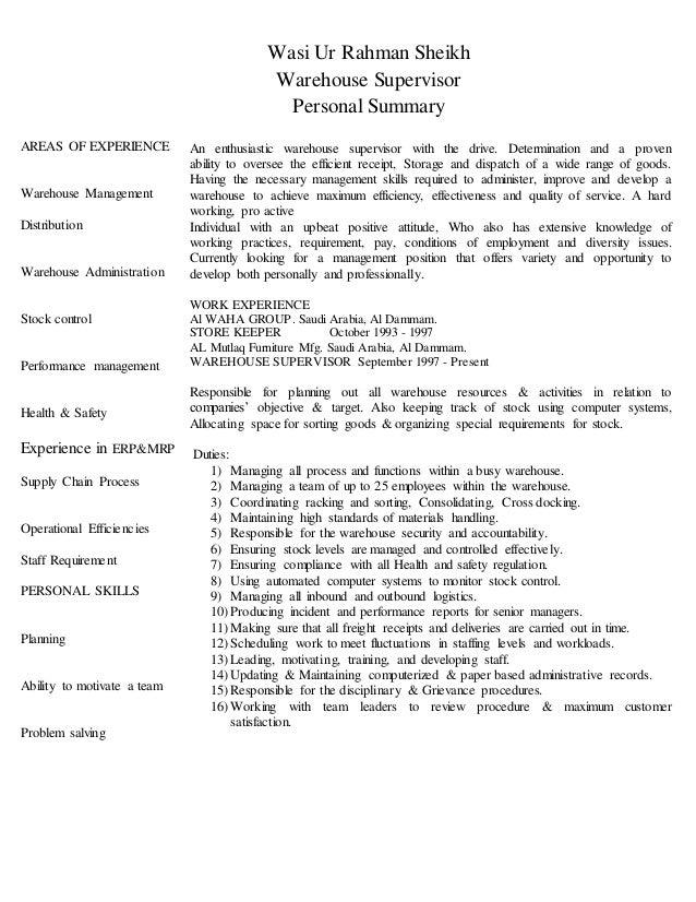 resume for warehouse supervisor position