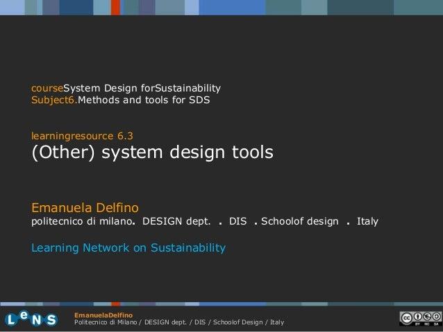 courseSystem Design forSustainabilitySubject6.Methods and tools for SDSlearningresource 6.3(Other) system design toolsEman...