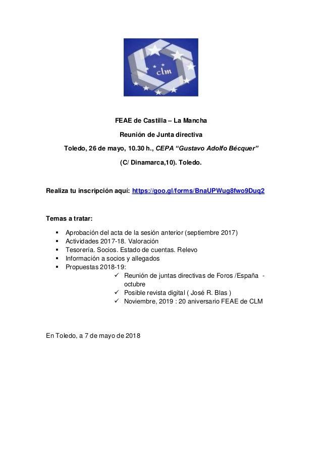 """FEAE de Castilla – La Mancha Reunión de Junta directiva Toledo, 26 de mayo, 10.30 h., CEPA """"Gustavo Adolfo Bécquer"""" (C/ Di..."""