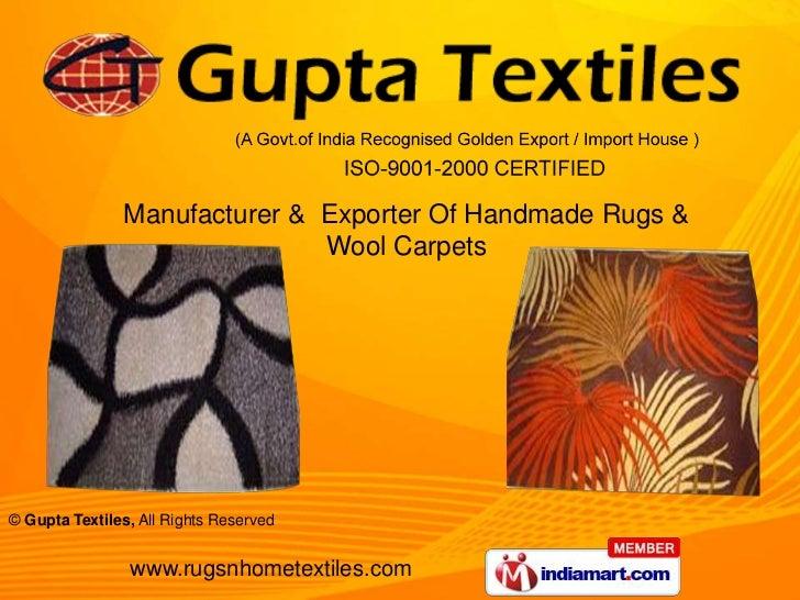 Manufacturer &  Exporter Of Handmade Rugs & Wool Carpets<br />