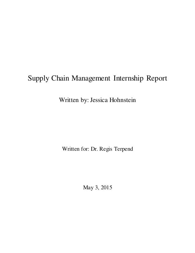 Supply Chain Management Internship Report