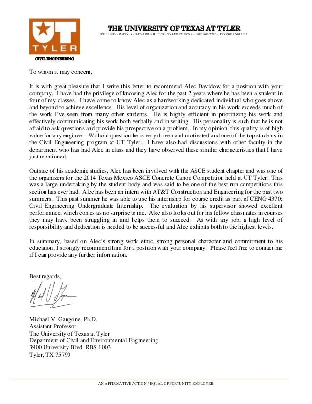 Ut Austin Letters Of Recommendation