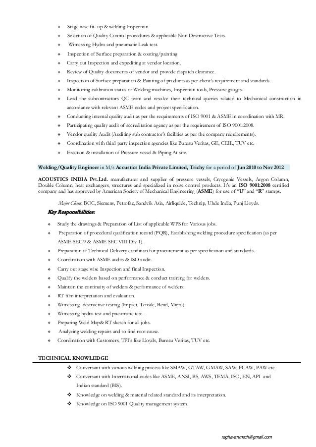 resume of qa qc welding engineer with 5 years of exp