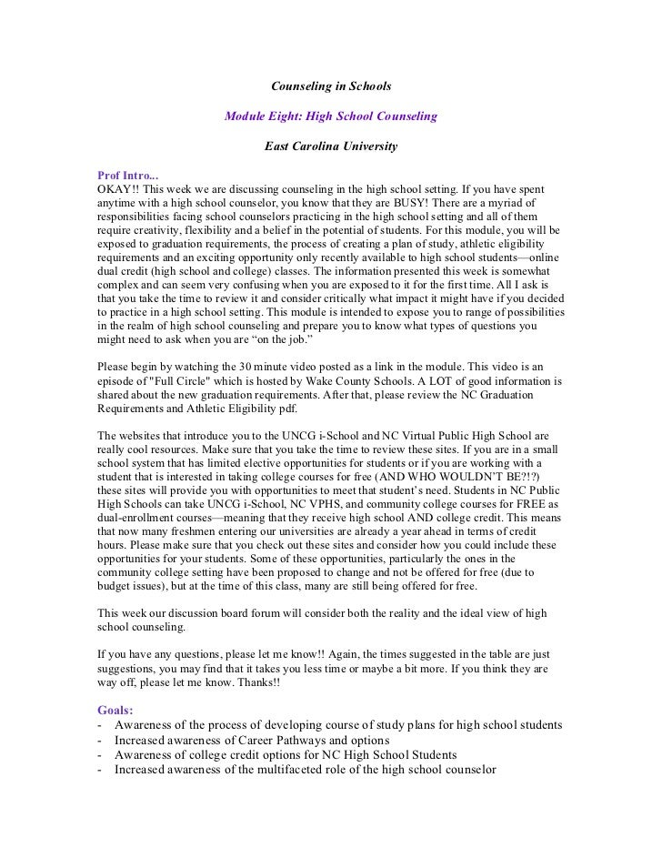 Counseling in Schools                           Module Eight: High School Counseling                                    Ea...