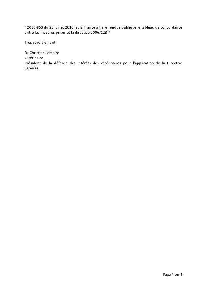 ° 2010-853 du 23 juillet 2010, et la France a telle rendue publique le tableau de concordanceentre les mesures prises et l...