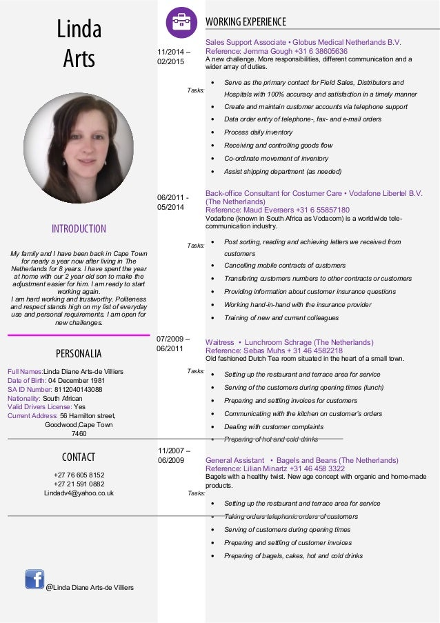 cv linda new style english
