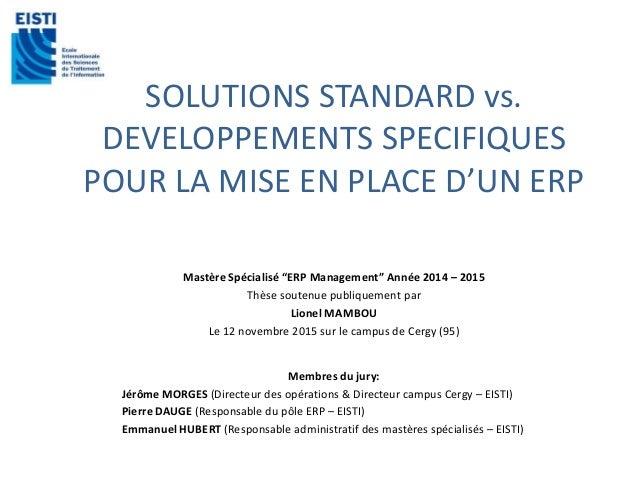 """SOLUTIONS STANDARD vs. DEVELOPPEMENTS SPECIFIQUES POUR LA MISE EN PLACE D'UN ERP Mastère Spécialisé """"ERP Management"""" Année..."""