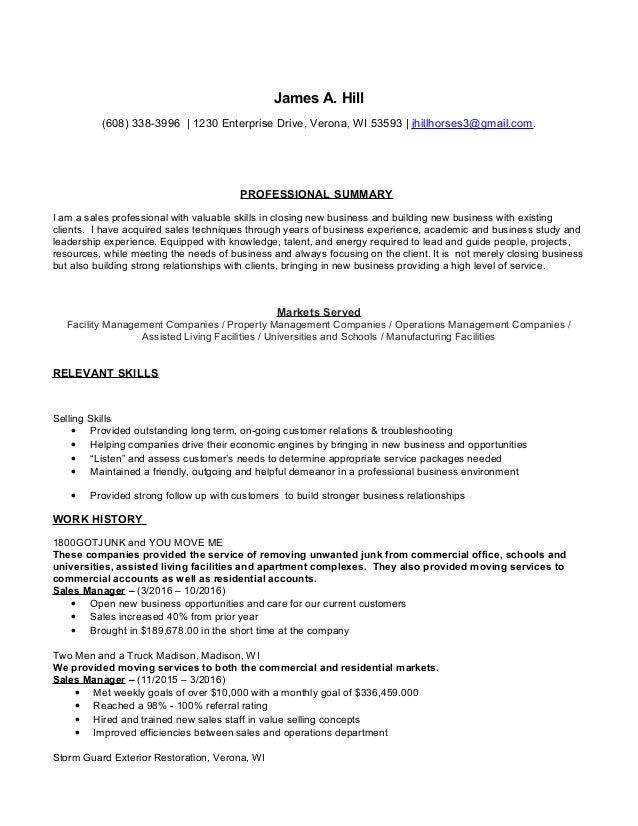 resume in sales