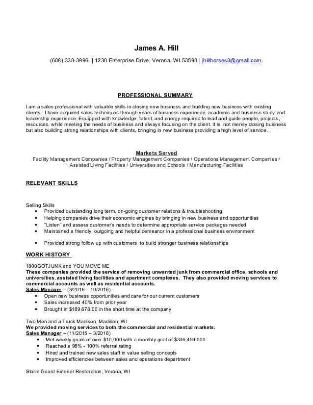 Jim Hill Resume Sales Professional. James A. Hill (608) 338 3996 | 1230  Enterprise Drive, ...