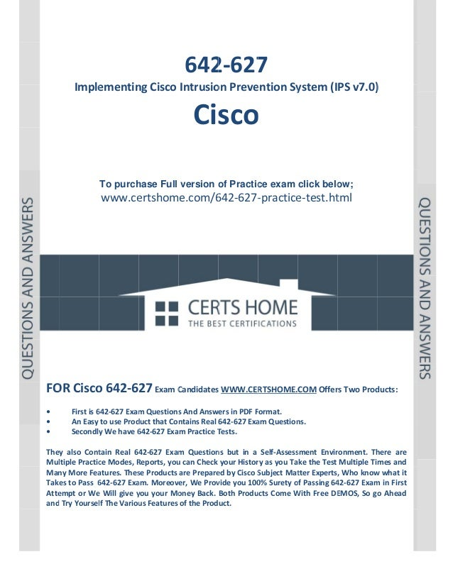 P a g e  | 1                642 7  2‐627  Imple ementin ng Cisco Intrusio on Preve ention Sy ystem (IPS v7.0) )    Cisco  ...