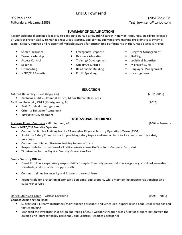 eric d townsend resume
