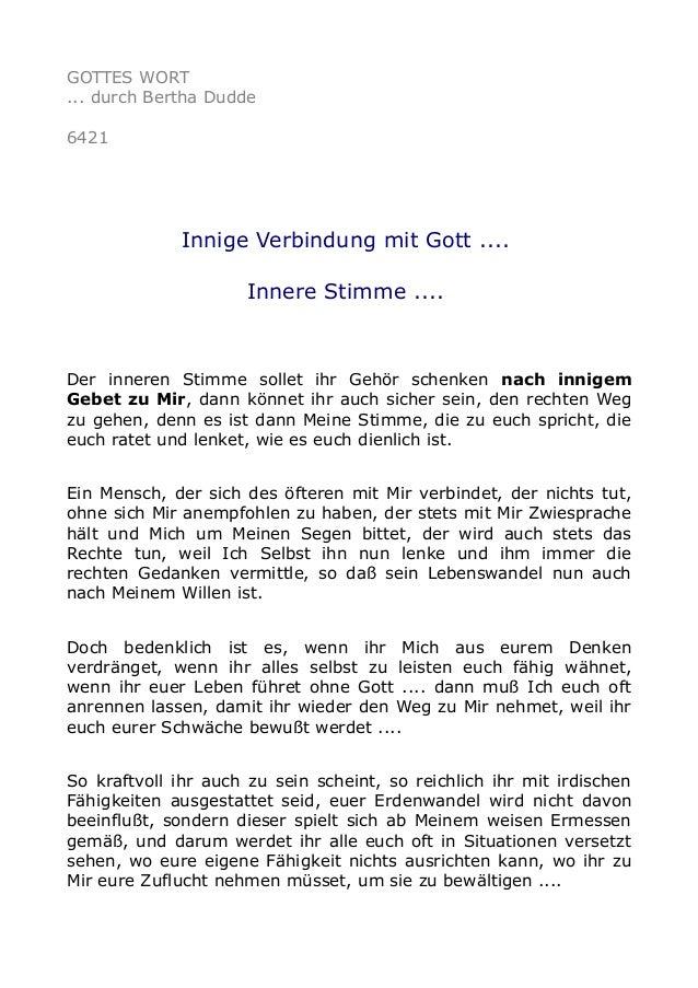 GOTTES WORT  ... durch Bertha Dudde  6421  Innige Verbindung mit Gott ....  Innere Stimme ....  Der inneren Stimme sollet ...