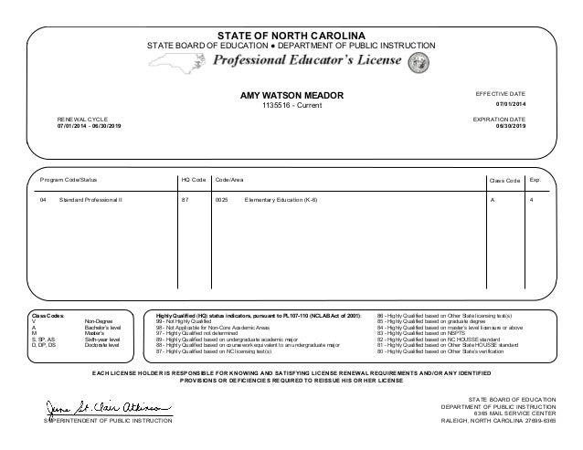 north carolina teaching certification gallery - certificate design ...
