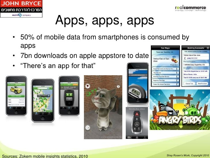 Apps, apps, apps     • 50% of mobile data from smartphones is consumed by       apps     • 7bn downloads on apple appstore...