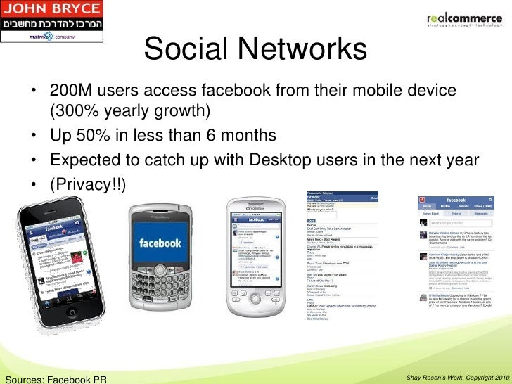 Social Networks     • 200M users access facebook from their mobile device       (300% yearly growth)     • Up 50% in less ...