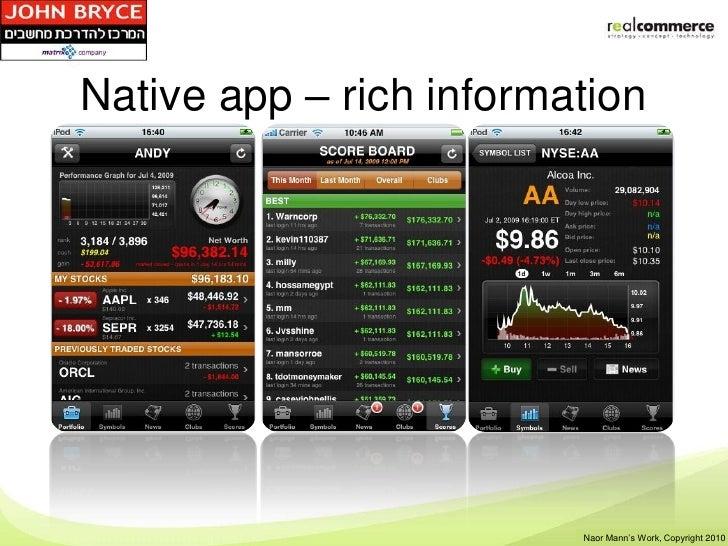 Native app – rich information                         Shay Rosen's Work, Copyright 2010                          Naor Mann...