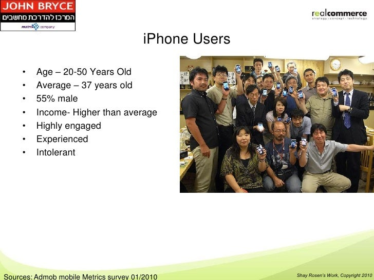 iPhone Users     •   Age – 20-50 Years Old     •   Average – 37 years old     •   55% male     •   Income- Higher than ave...