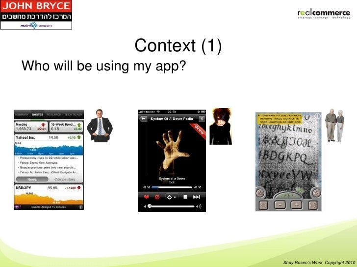 Context (1)Who will be using my app?                               Shay Rosen's Work, Copyright 2010