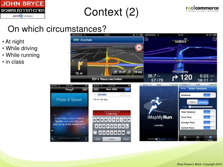 Context (2)  On which circumstances?• At night• While driving• While running• in class                                 Sha...