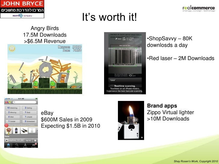 It's worth it!   Angry Birds17.5M Downloads                                      •ShopSavvy – 80K>$6.5M Revenue           ...