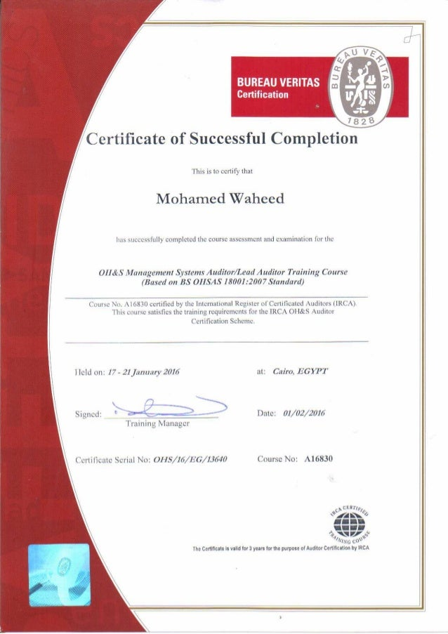 Irca quality management system (iso 901 2008) lead auditor certificat….