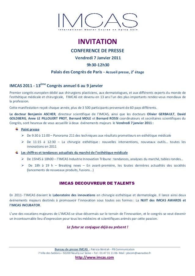 BureaudepresseIMCAS:PatriciaBénitah‐PBCommunication 7VilladesSablons–92200NeuillysurSeine–Tel:01...