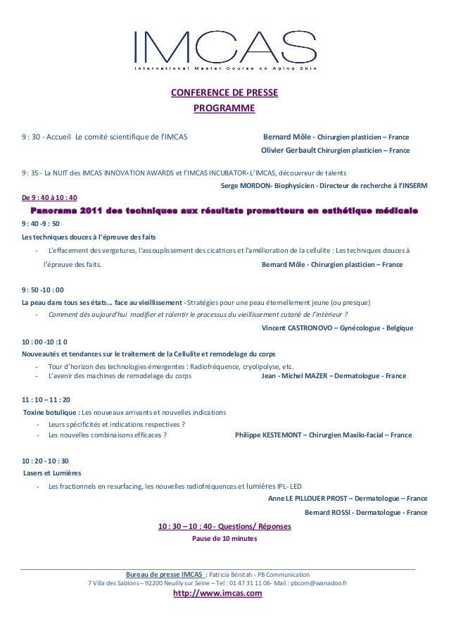 Communiqué de Presse IMCAS - PB Communication - Janvier 2011 Slide 2