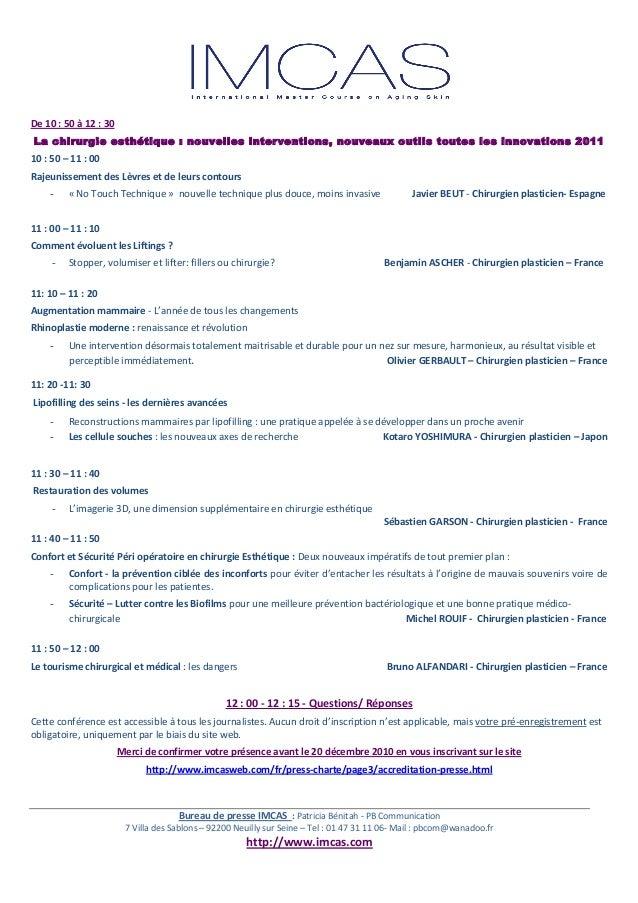 Communiqué de Presse IMCAS - PB Communication - Janvier 2011 Slide 3