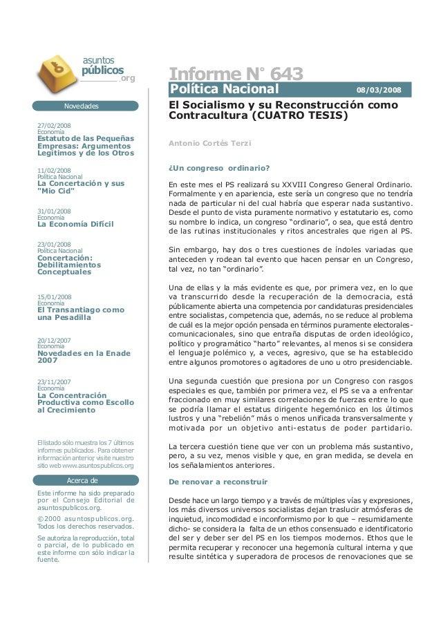 El Socialismo y su Reconstrucción como Contracultura (CUATRO TESIS) Acerca de Este informe ha sido preparado por el Consej...
