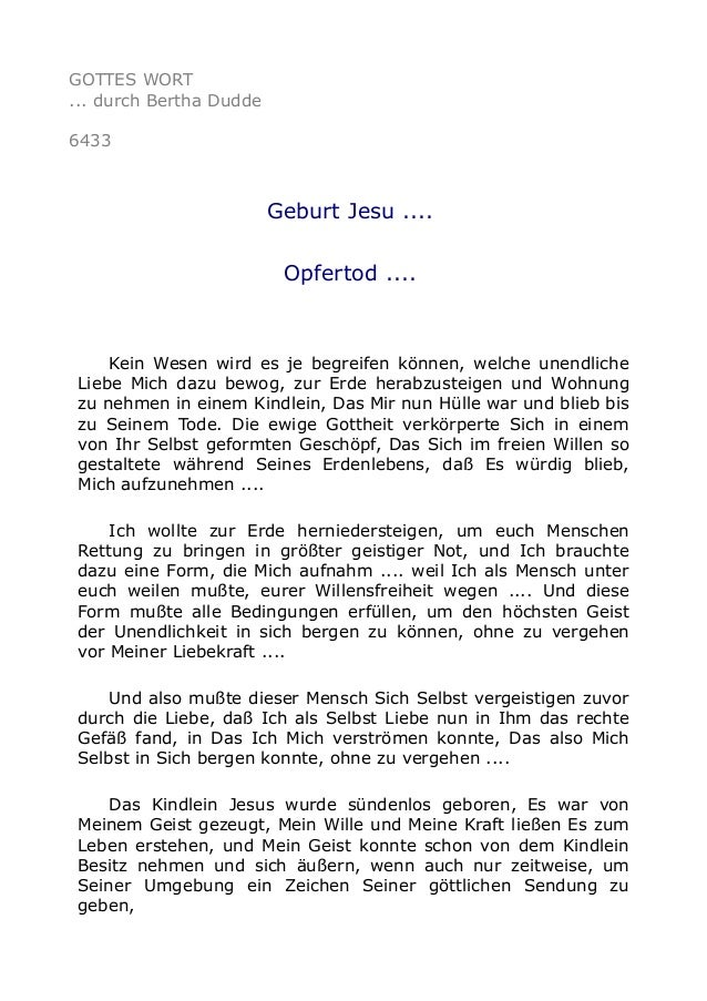 GOTTES WORT  ... durch Bertha Dudde  6433  Geburt Jesu ....  Opfertod ....  Kein Wesen wird es je begreifen können, welche...