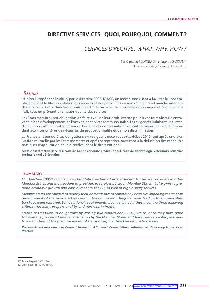 COMMUNICATION                             DIRECTIVE SERVICES : QUOI, POURQUOI, COMMENT ?                                  ...