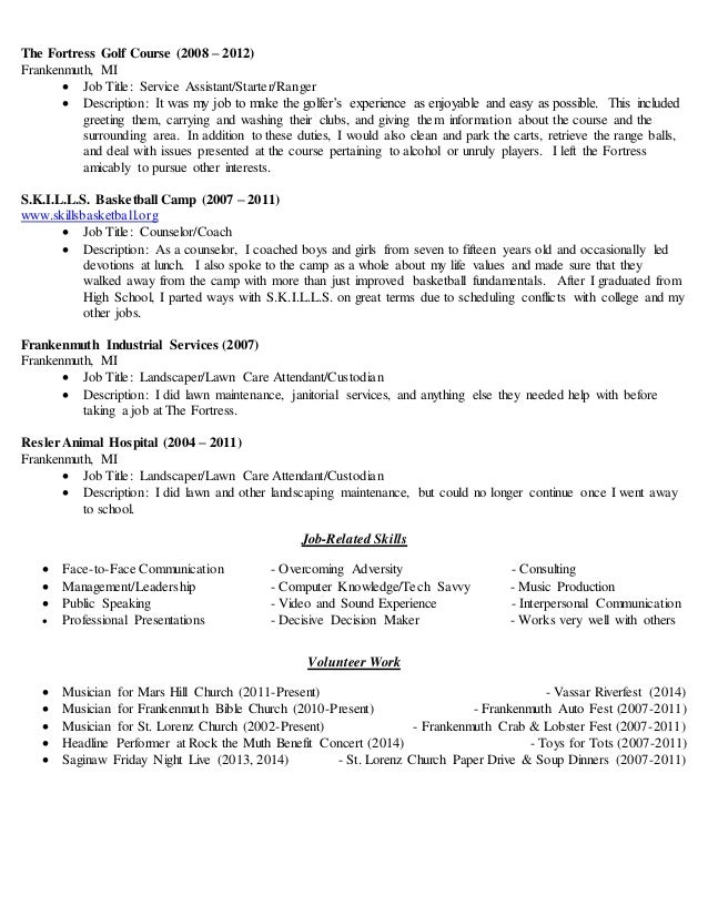 100 Landscaping Responsibilities Resume Sample