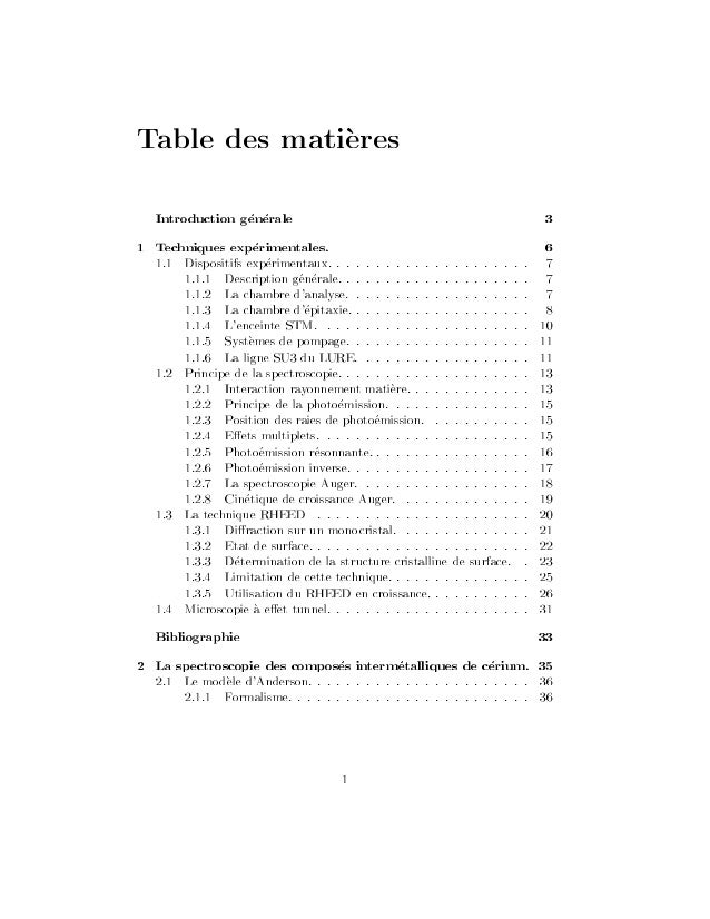 Table des matieres Introduction generale 3 1 Techniques experimentales. 6 Bibliographie 33 2 La spectroscopie des composes...