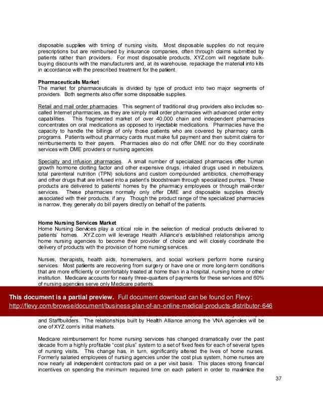 medical distributorship business plan