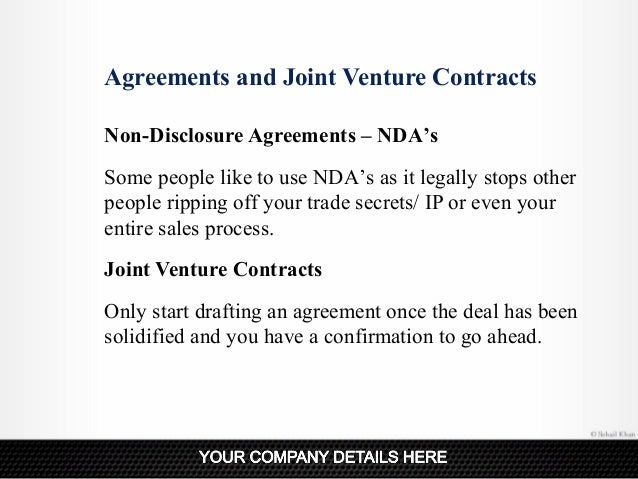 Agreements And Joint Venture ...