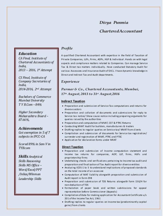 Divya Punmia CharteredAccountant Profile A qualified Chartered Accountant with expertise in the field of Taxation of Priva...