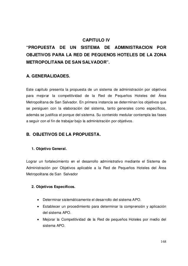 """168 CAPITULO IV """"PROPUESTA DE UN SISTEMA DE ADMINISTRACION POR OBJETIVOS PARA LA RED DE PEQUENOS HOTELES DE LA ZONA METROP..."""