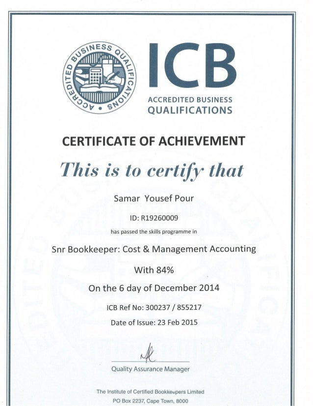 Samar Damelin Icb Certificate Of Cost Management Accounting