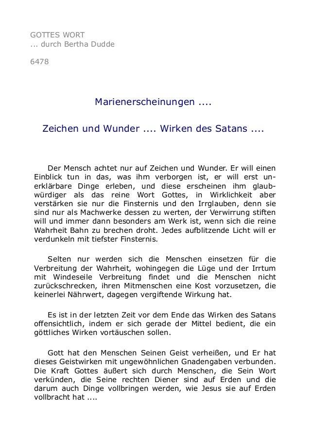 GOTTES WORT  ... durch Bertha Dudde  6478  Marienerscheinungen ....  Zeichen und Wunder .... Wirken des Satans ....  Der M...
