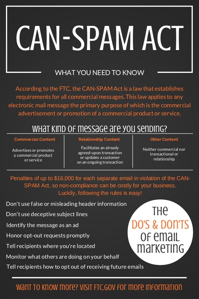 CAN-SPAM ACT WHAT YOU NEED TO KNOW According to the FTC, the CAN-SPAM Act is a law that establishes requirements for all c...