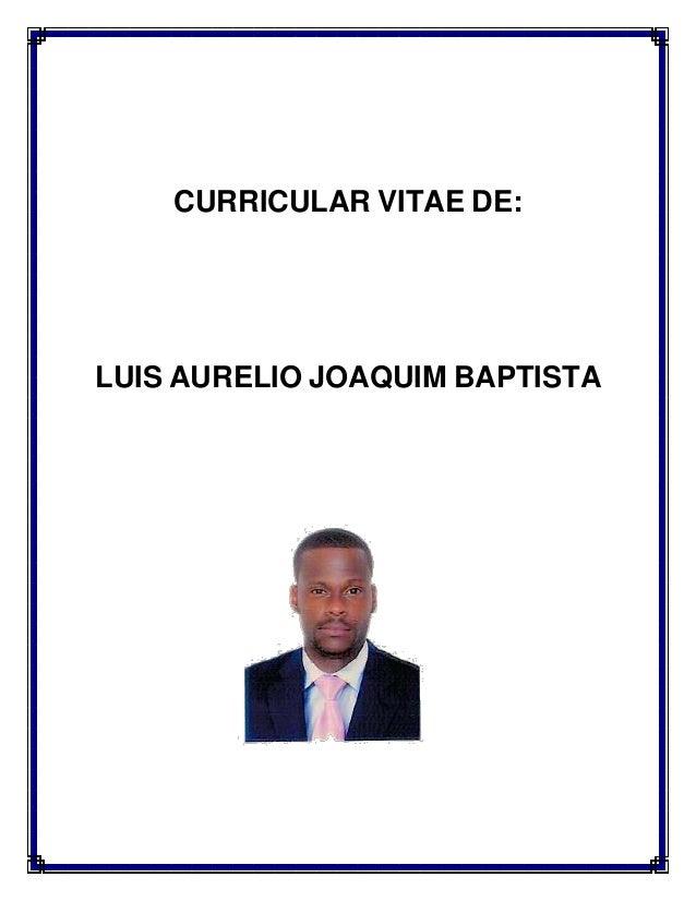 CURRICULAR VITAE DE: LUIS AURELIO JOAQUIM BAPTISTA