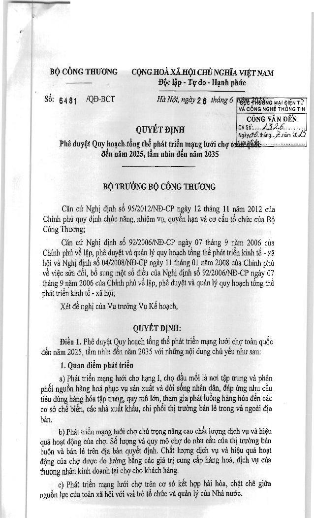 BỘ CÔNG THƯƠNG CỘNG.HOÀXẢHỘLCHÙ NGHĨA VIỆT NAM Độc lập - Tự do - Hạnh phúc            Số: ana, /QĐ-BCT HàNội, ngày26 tháng...