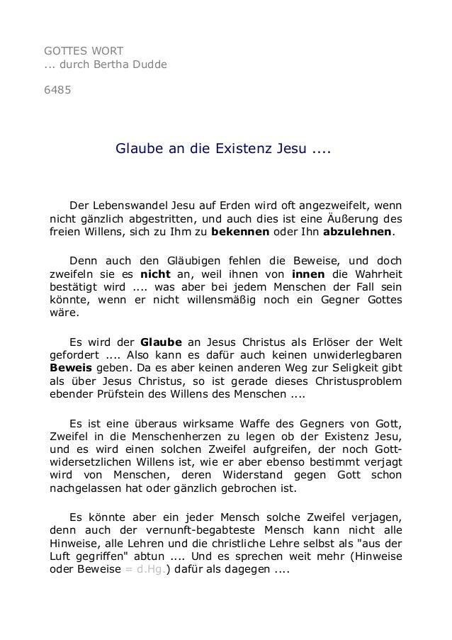 GOTTES WORT  ... durch Bertha Dudde  6485  Glaube an die Existenz Jesu ....  Der Lebenswandel Jesu auf Erden wird oft ange...