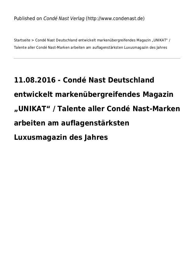 Published on Condé Nast Verlag (http://www.condenast.de) Startseite > Condé Nast Deutschland entwickelt markenübergreifend...