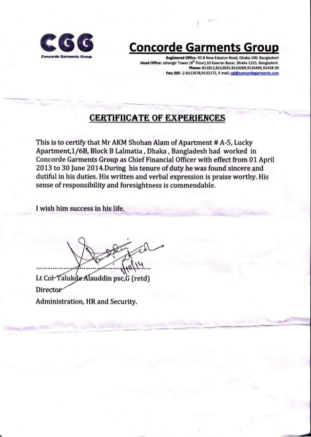 Cgl Experience Certificate For Akm Sohan Alam