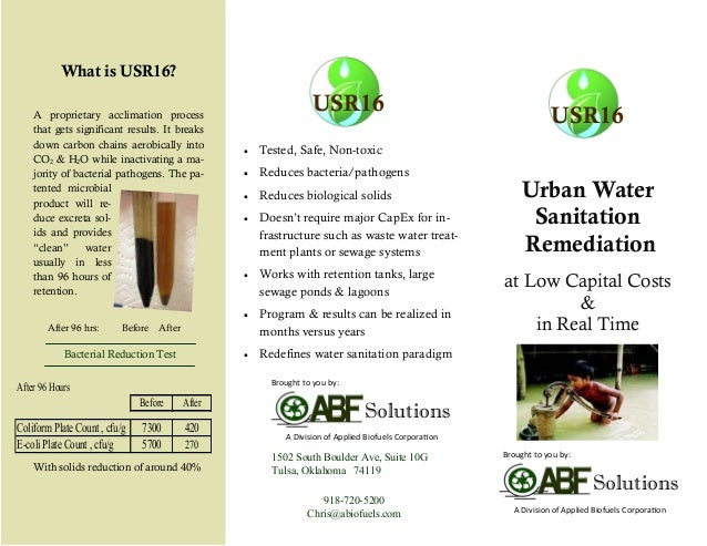Urban Water Sanitation Remediation at Low Capital Costs & in Real Time 918-720-5200 Chris@abiofuels.com 1502 South Boulder...