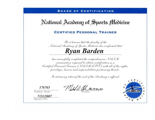 NASM- Certified Personal Trainer Certificate