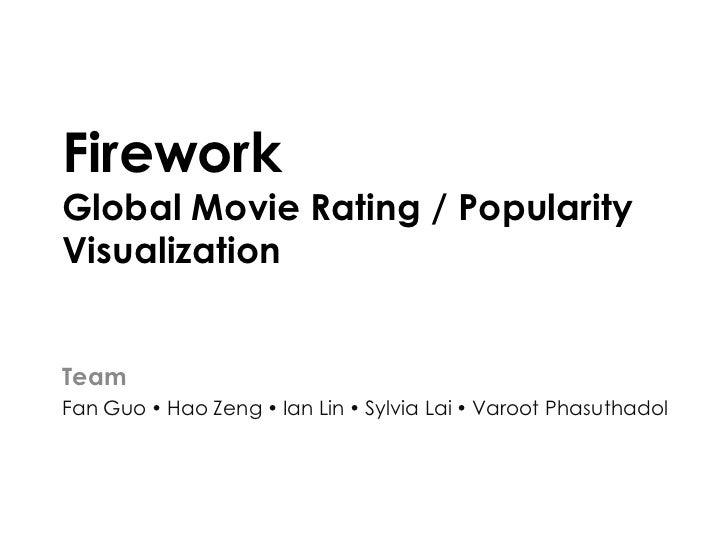 FireworkGlobal Movie Rating / PopularityVisualizationTeamFan Guo  Hao Zeng  Ian Lin  Sylvia Lai  Varoot Phasuthadol