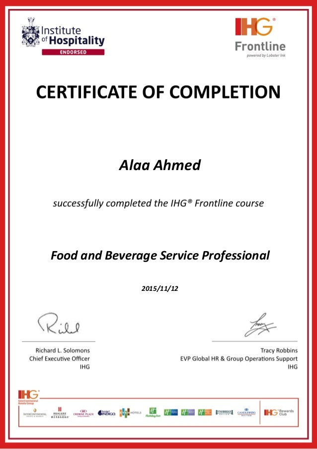 Alaa Ahmed Food and Beverage Service Professional 2015/11/12