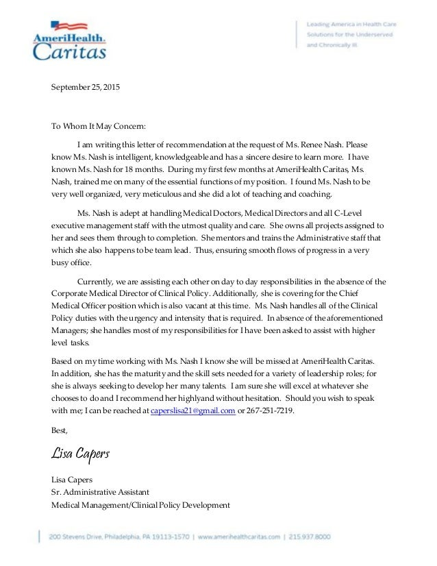 Recommendation letter from lisa capers september 252015 to whom it may concern i am writing this letter of expocarfo